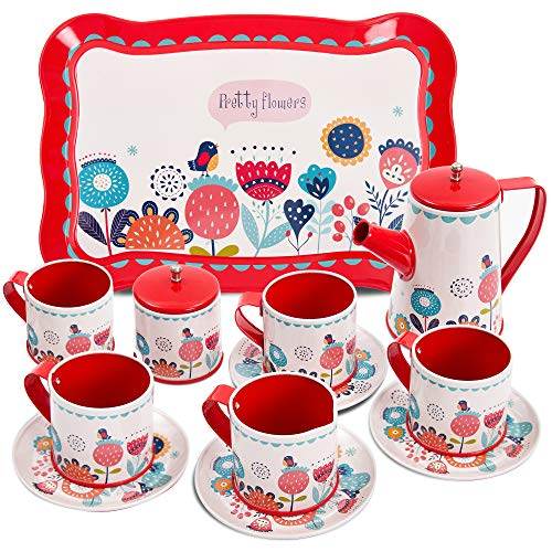 Buyger 14 PCS Kids Tin Tea Set with Tray Pretend Role Play Tea Set Toy for Children