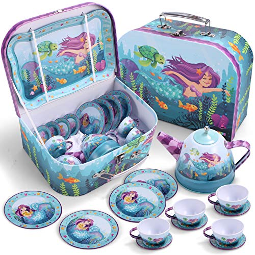 JOYIN Cute Under The Sea Mermaid Pretend Tin Teapot Set for Tea Party and Kids Kitchen Pretend Play