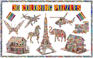 3d coloring puzzle for kids